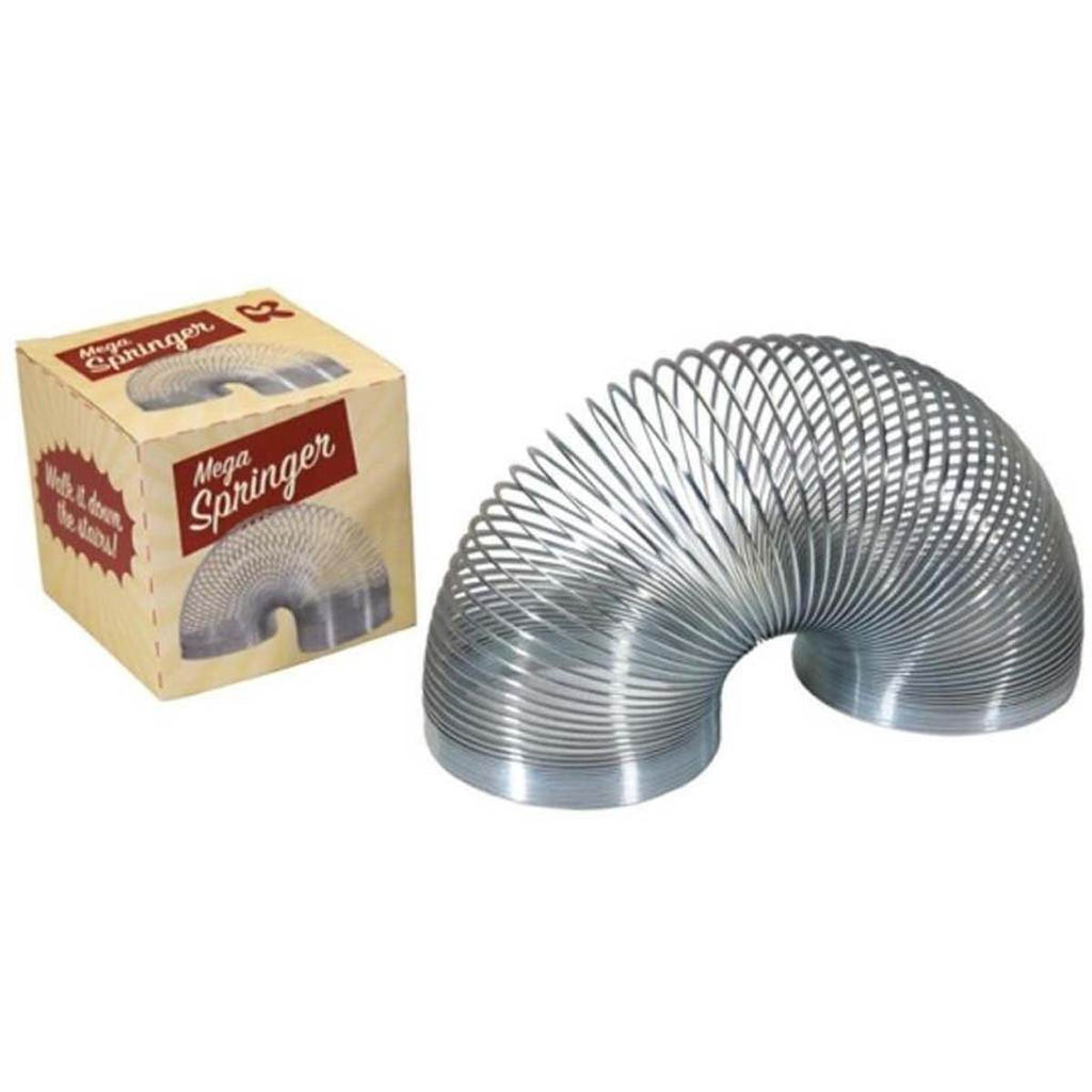 "A classic Slinky Style spring toy shown next to its box. The box features the text ""Mega Springer"""