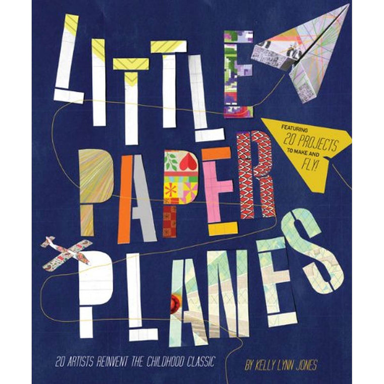 A blue book cover featuring colourful bold text and stylised images of paper planes