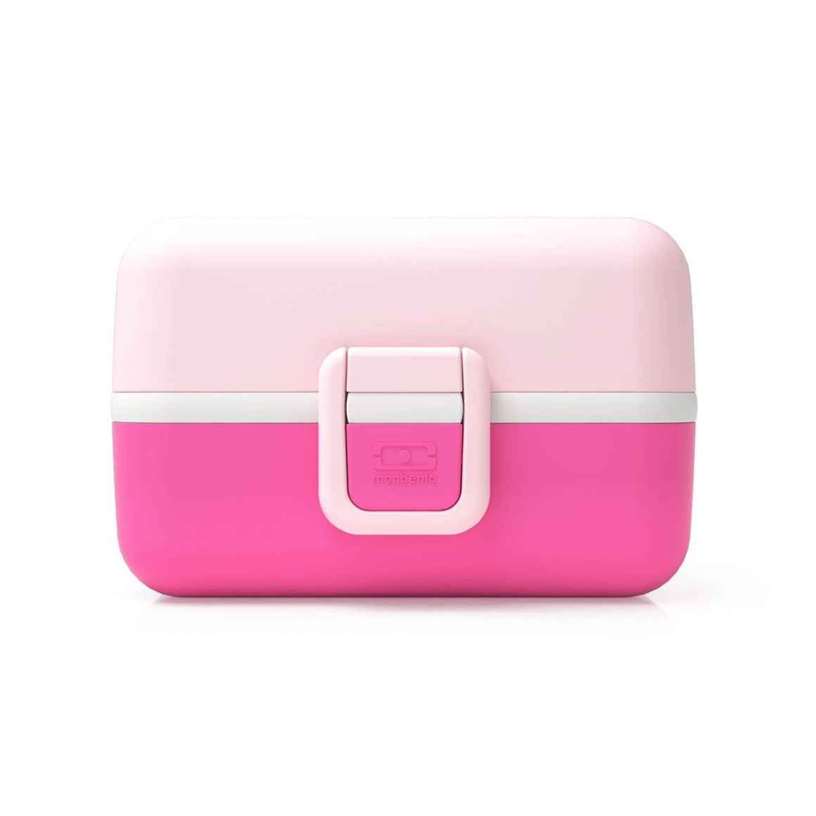 A mutliple compartment rectangular childrens lunchbox shown closed. Featuring a range of colours: Hot Pink, Pastel pink and white.