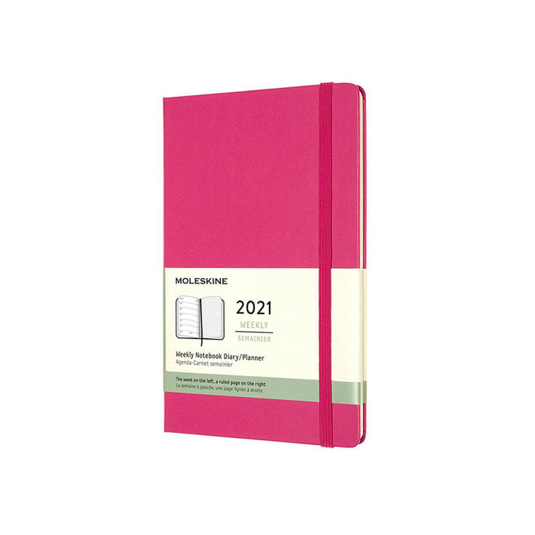2021 Diary | Moleskine Hard Cover | Weekly Notebook | Large | Pink