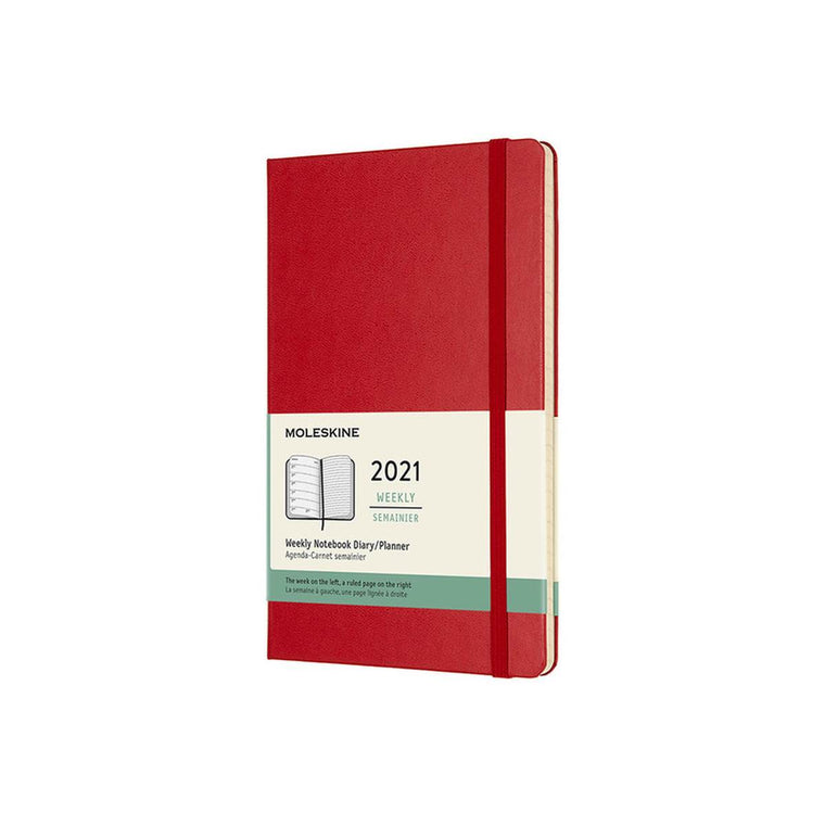 2021 Diary | Moleskine Hard Cover | Weekly Notebook | Large | Red
