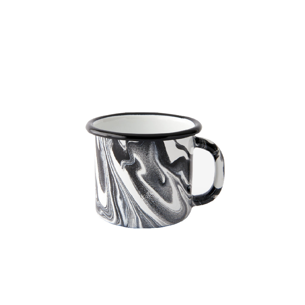 An enamel mug with beautiful marbled enamel in a range of contrasting tones of black and white.