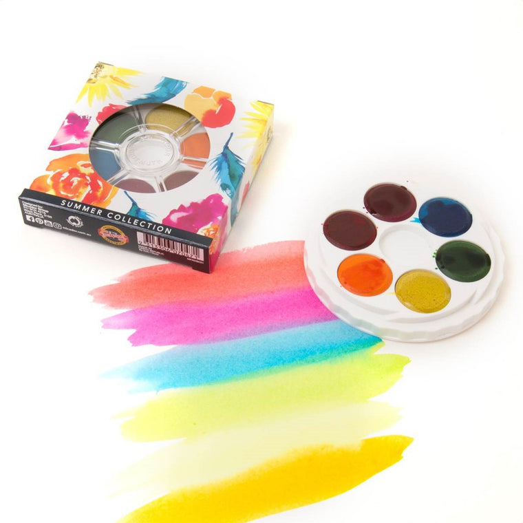 A disc of Watercolour paints in a Summer colour theme including: Lemon Yellow, Orange, Coral Red, Fuschia, Cerulean & Apple Green. It is shown next to example paint sampler.