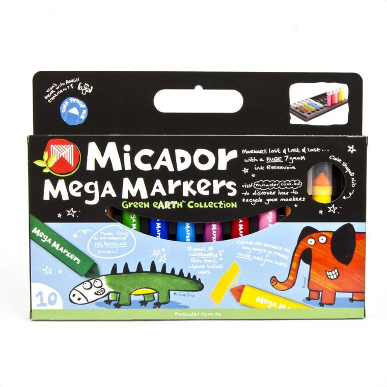 "A boxed Set of 10 ""mega"" markers that have large ink resevoirs."