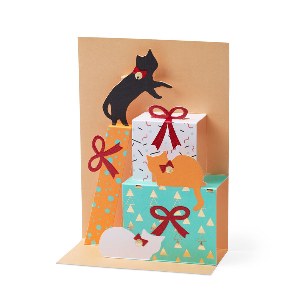 Greeting Card | Pop up | Festive feline gift tower | Pack of 8 | Christmas