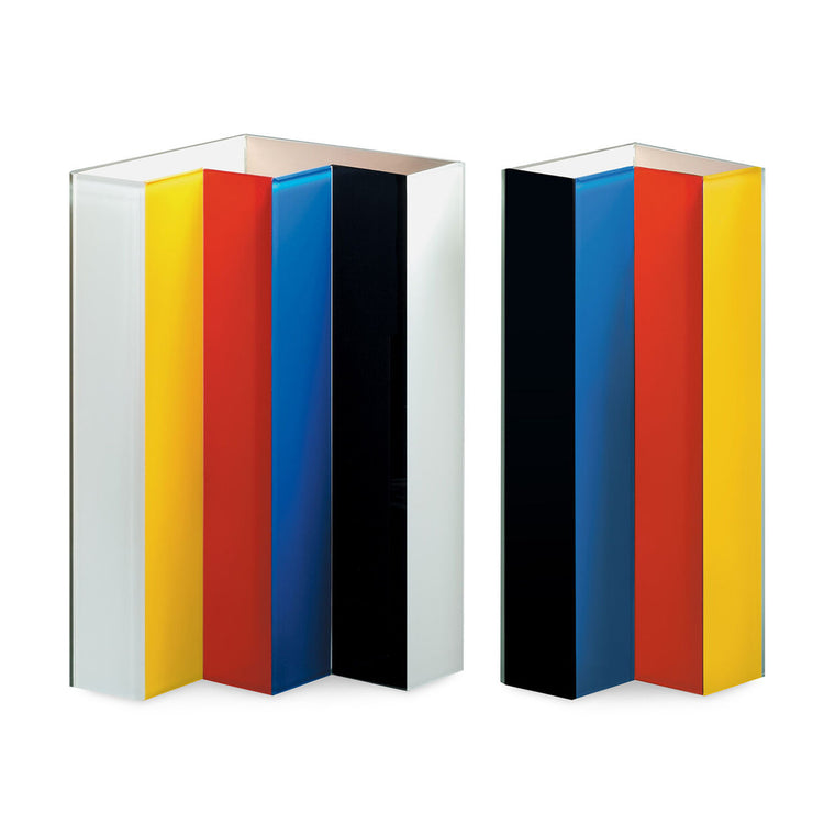 Image featuring the line up vase in it's two separate parts which both feature the colours black, blue, red, yellow and white