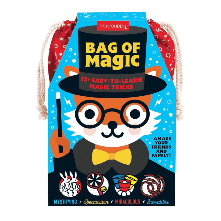 A childrens 'Bag of Magic' drawstring bag containing magic tricks. Cover illustration features a cartoon fox in traditional magicians.