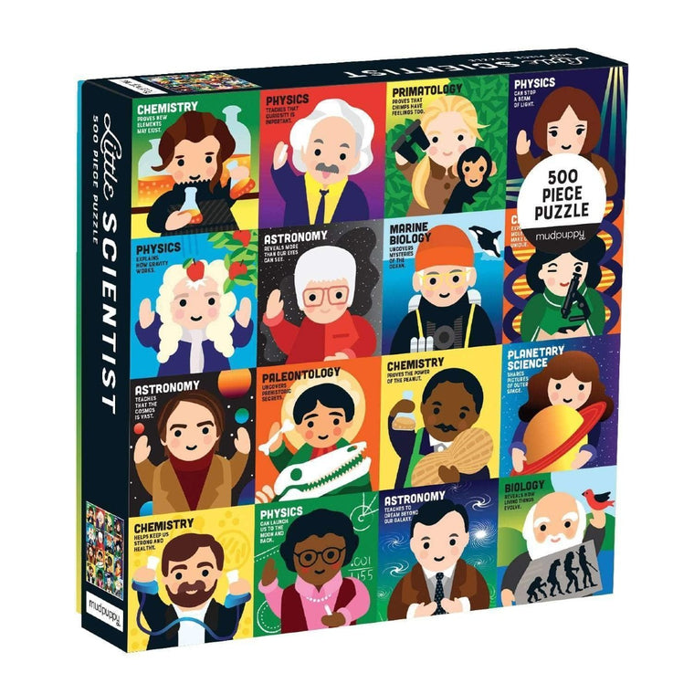 A boxed Puzzle featuring 16 simplified cartoon caricatures of famous historical scientists.