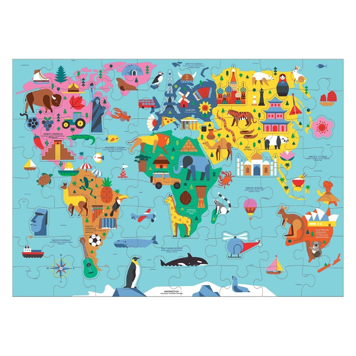 A puzzle depicting a simplified cartoon map of the world featuring iconic places, buildings and animals.