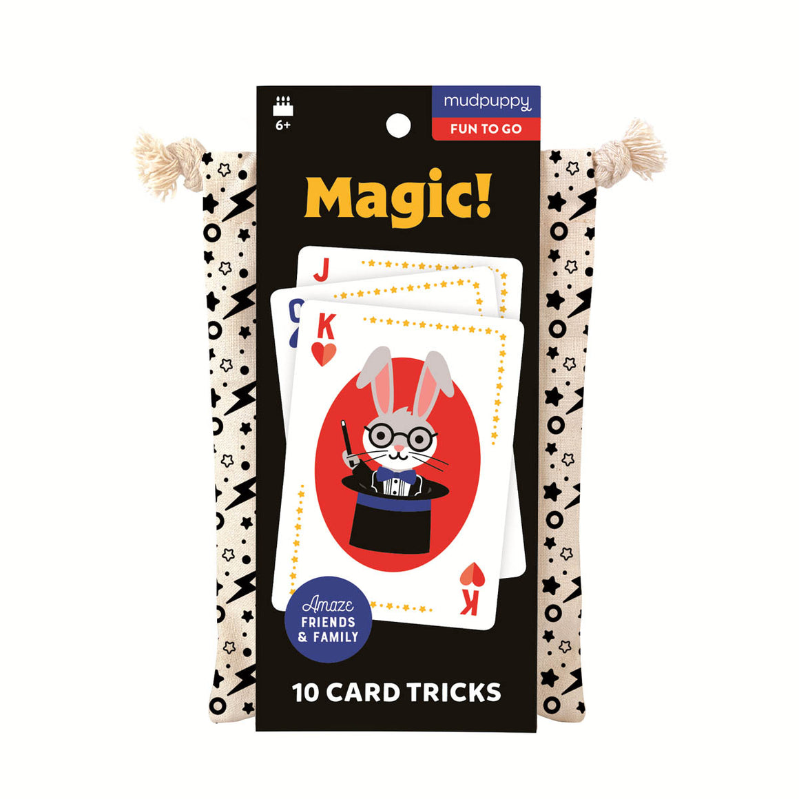 A cloth bag containing a set of magic trick cards for kids. The carboard packaging shows a sample of the cards featuring a cute illustrated rabbit magician popping out of a top hat.