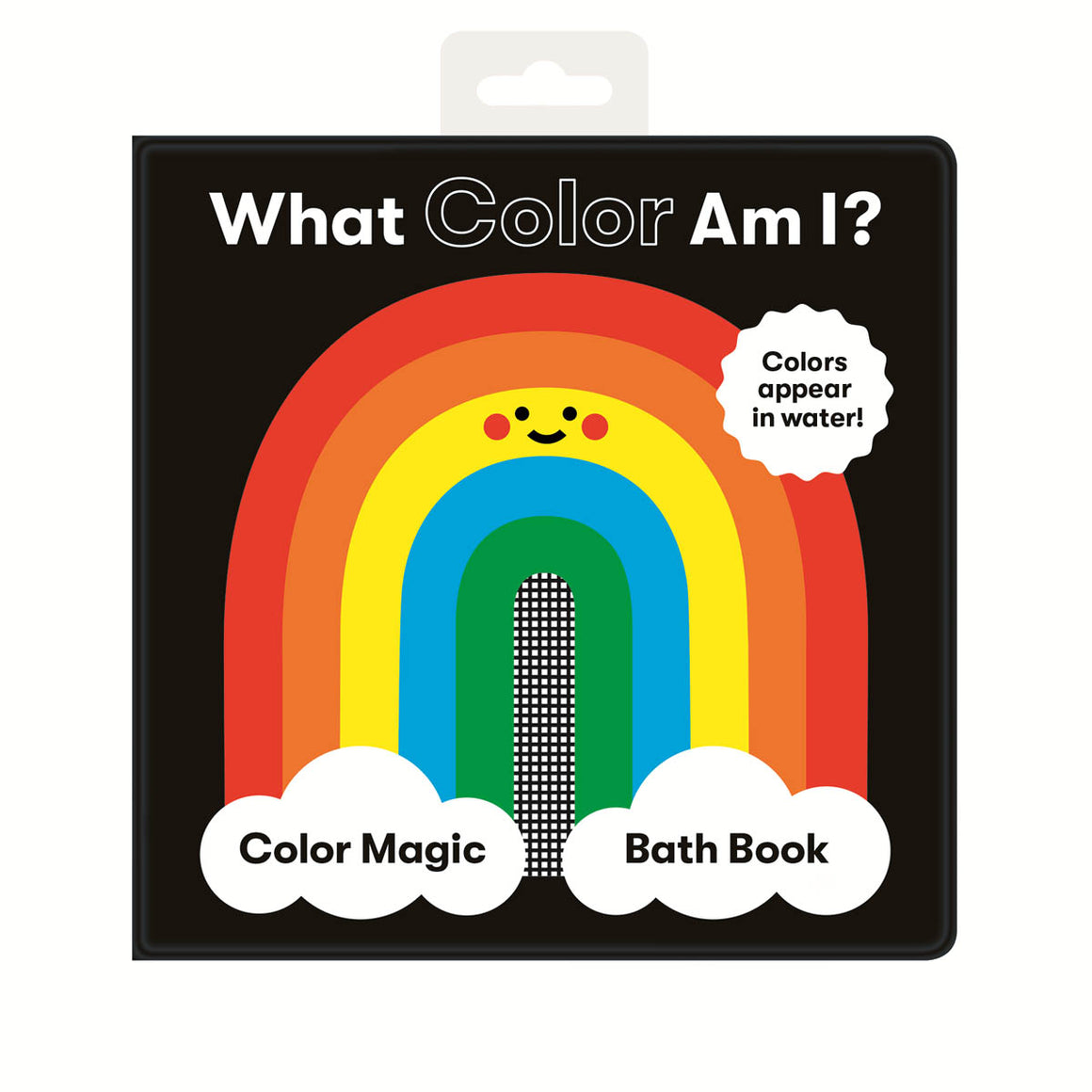 a square bath book, featuring a cartoon image of a rainbow with a face on a black background.