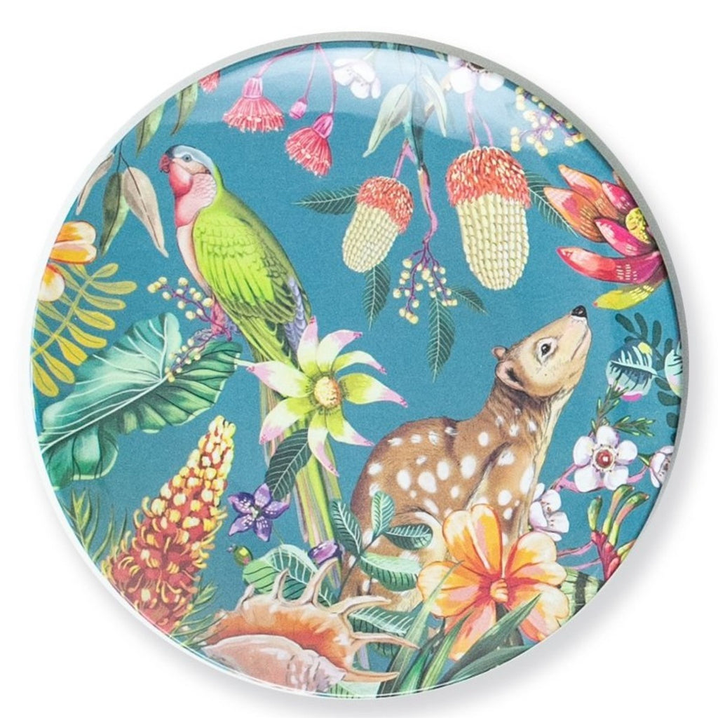 Image featuring a plate in the center which includes a blue background with a australian king parrot and quoll, surrounded by a variety of australian florals