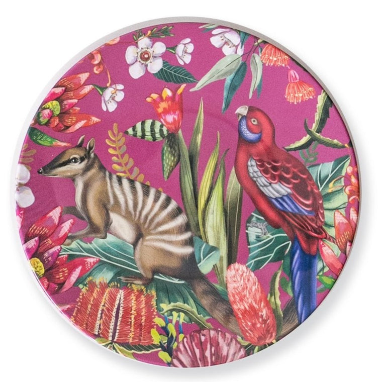 Image featuring a plate in the center which includes a red background with anumbat and rosella, surrounded by a variety of australian florals