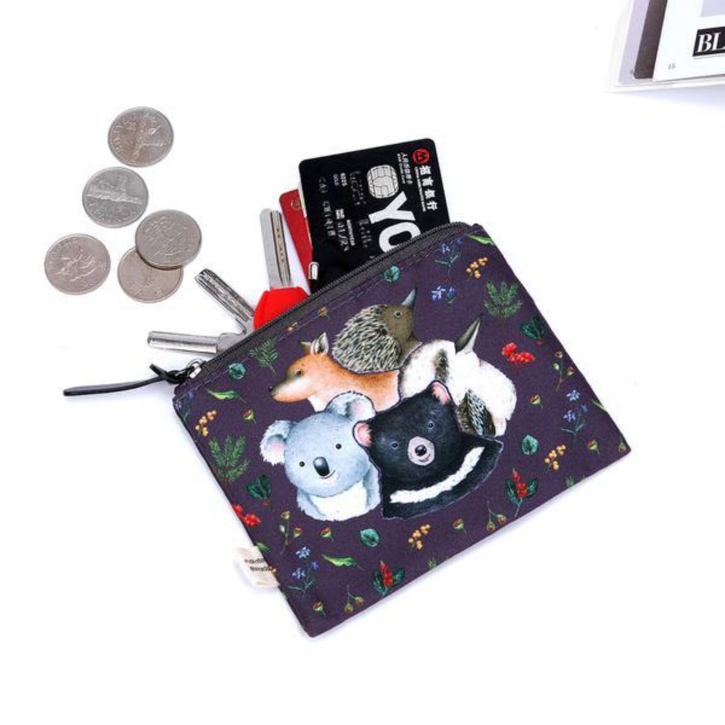 Image featuring a white background with a navy pencil case which features Australian Animals such as a koala, kangaroo, echidna, kookaburra and Tasmanian devil