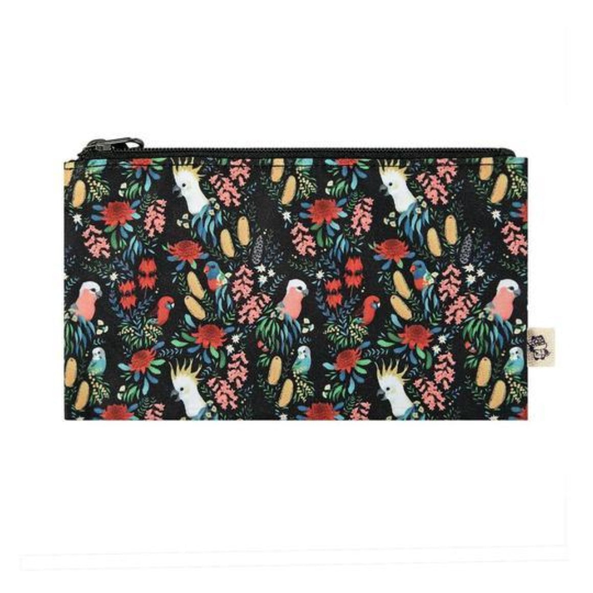 Black background pencil case featuring Australian florals such as wattle and banksia's as well as Australian birds such as a rainbow lorikeet, cockatoo and rosellas