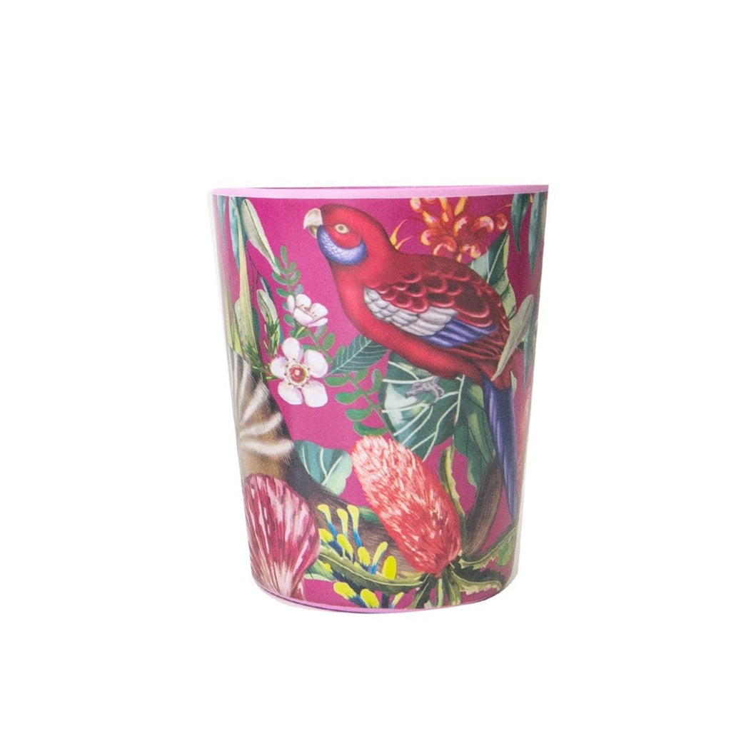 Image featuring a cup with a red background, rosella and a variety of australian flora