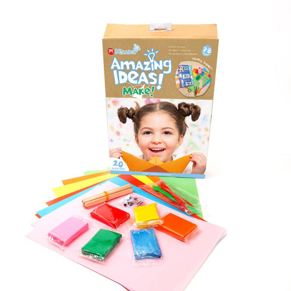 A childrens craft activity pack including coloured sand, paper, pop sticks, and googley eyes.