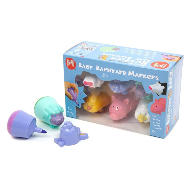 A set of six coloured stubby markers. The body of each marker is shaped like a different classic baby barnyard animal.