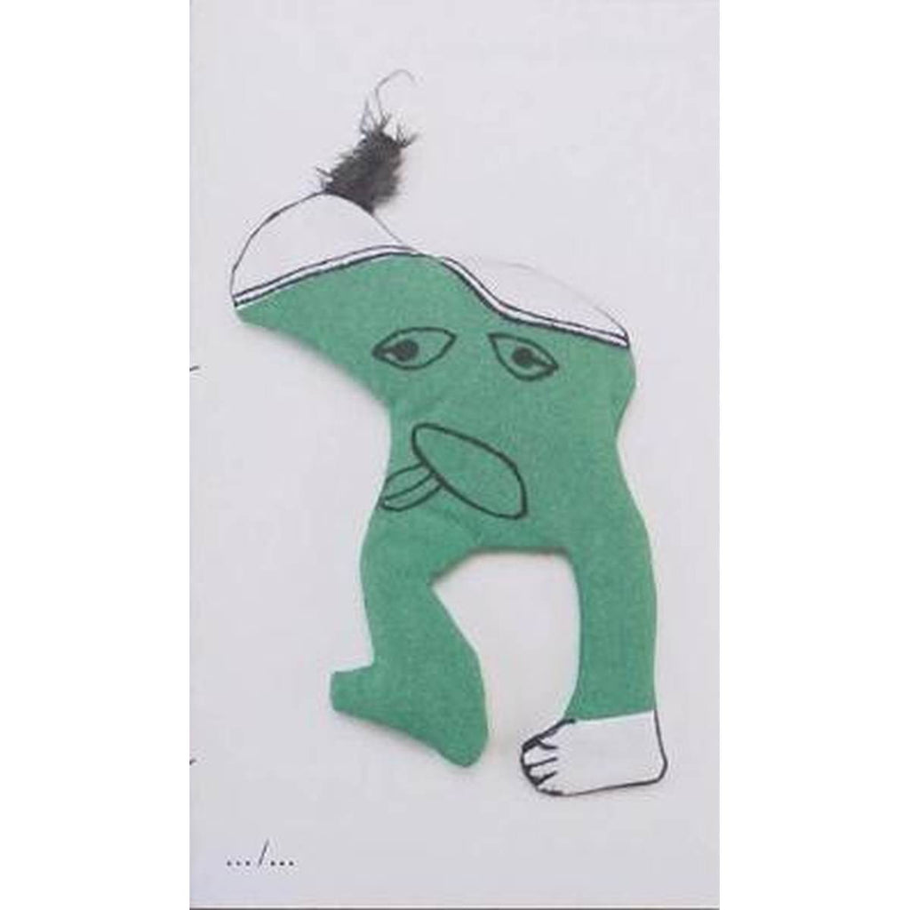 A white book cover featuring a photo of an imaginary green creature that has been made out of felts, black marker and a feather