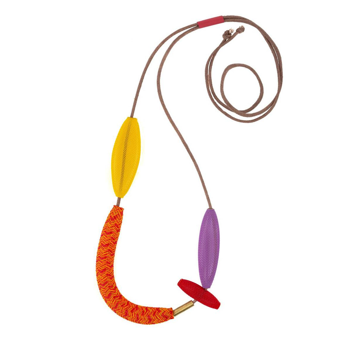 A necklace in variegated red, orange, yellow and purple. Variegated beads made of heat tr seated nylon are strung on a waxed cotton cord.