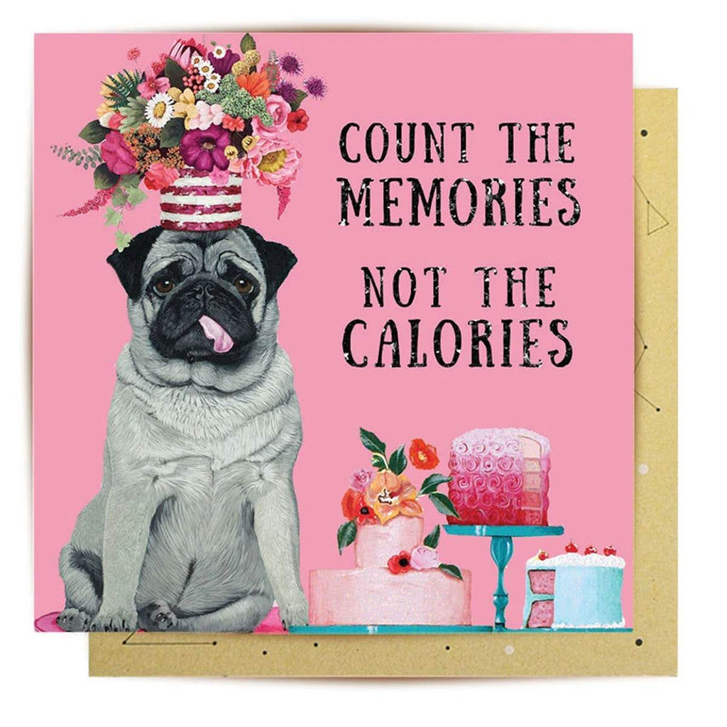 Greeting Card | Calorie Counter Pug | Birthday