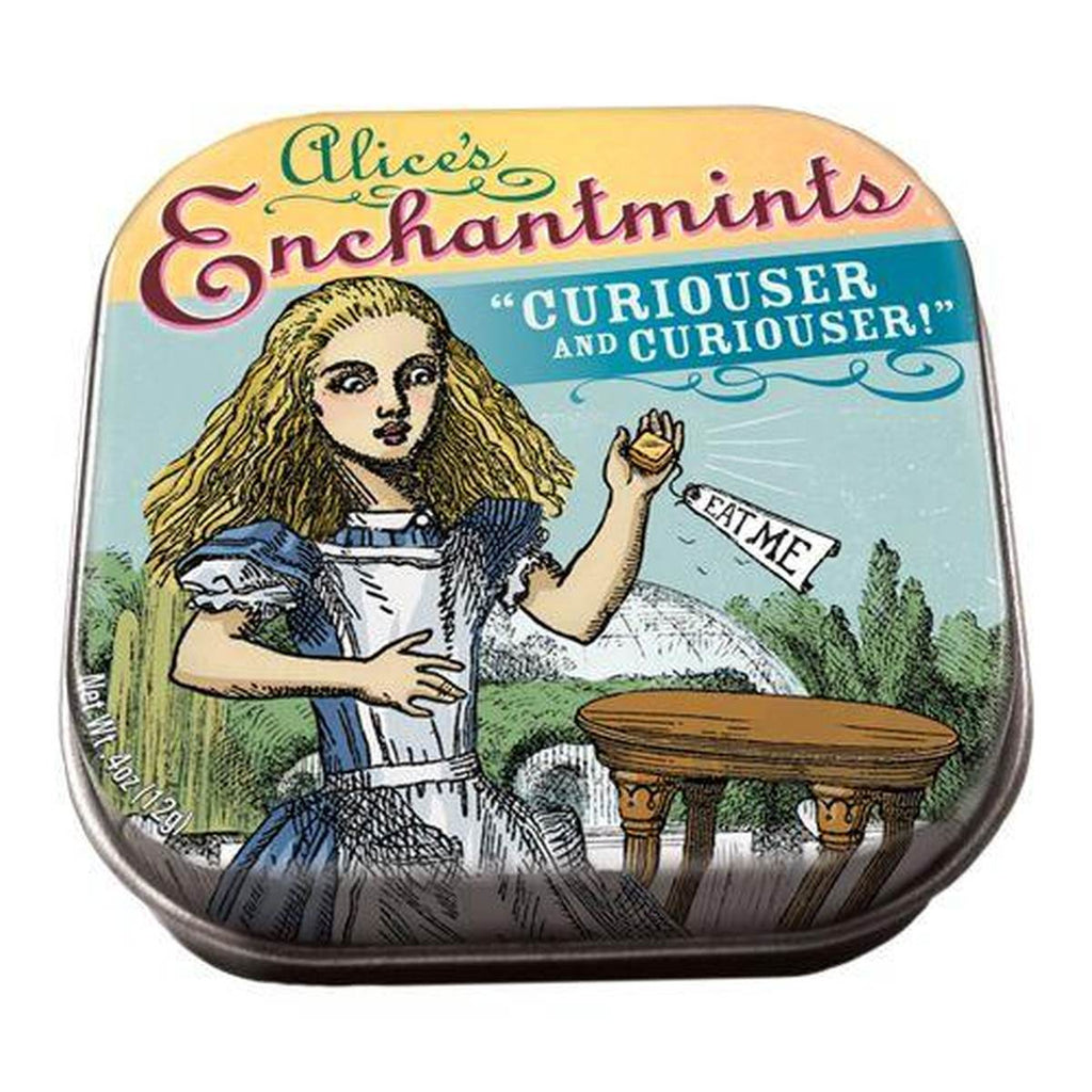 A small tin of mints printed with an image from Alice in Wonderland.