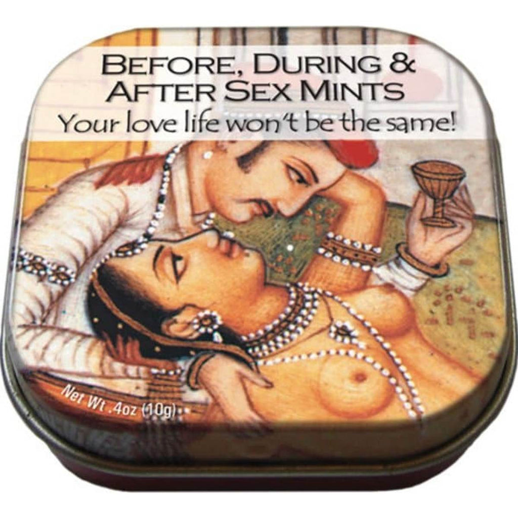 A small tin of mints printed with an image from the Kama Sutra of a man and woman embracing
