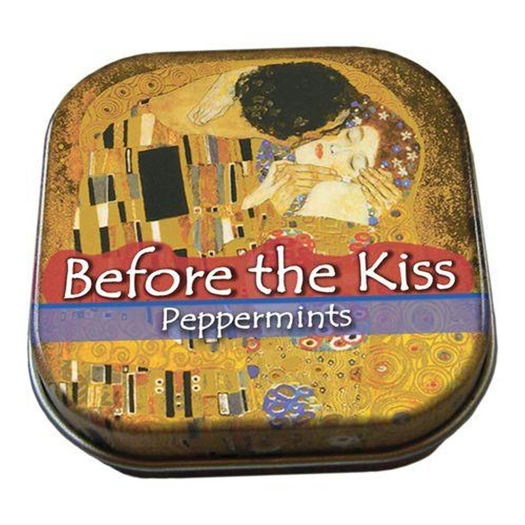 A small tin of mints printed with Gustave Klimt's The Kiss