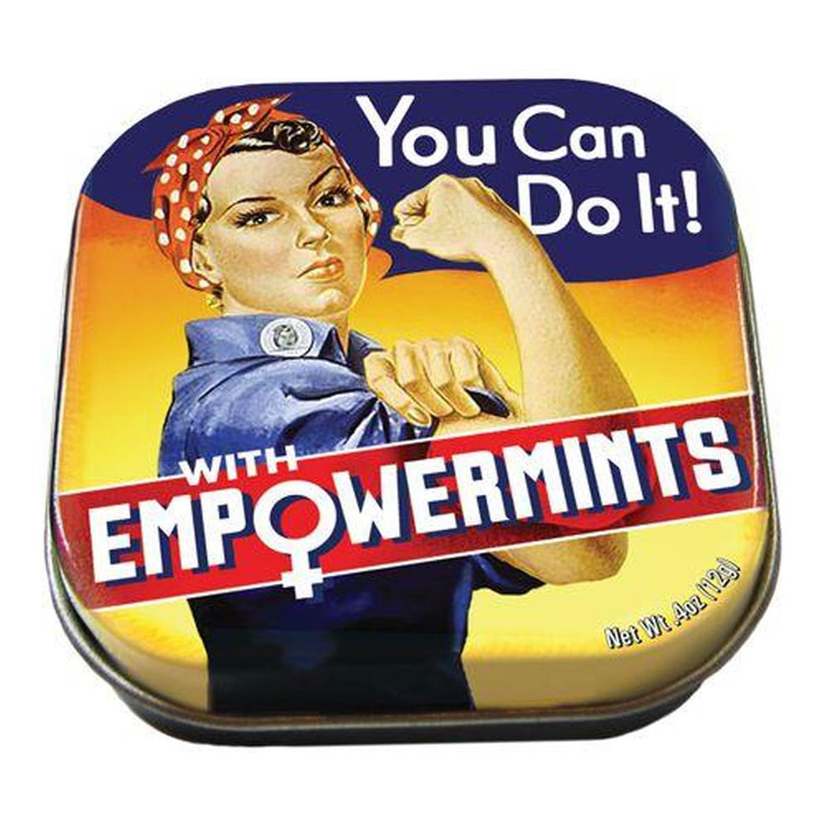 A small tin of mints printed with an image of Rosie the Riveter, flexing her muscles.