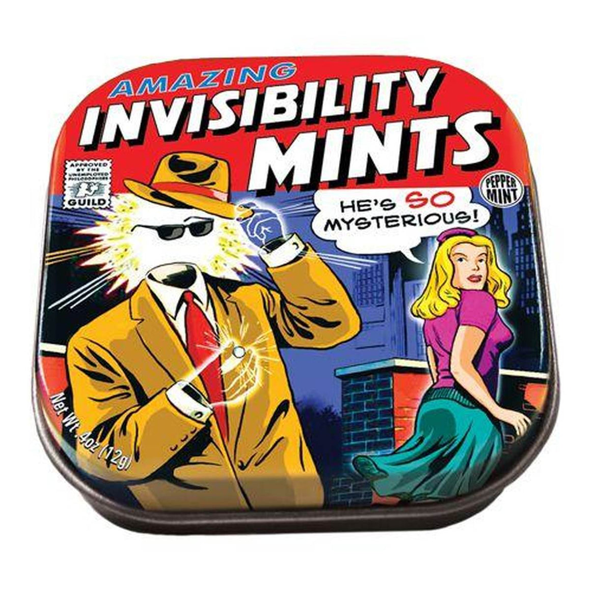 A small tin of mints printed with a comic book image of the Invisible man.