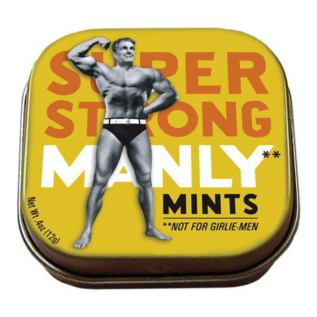 A small tin of mints printed with a vintage photograph of a strong man in traditional costume.