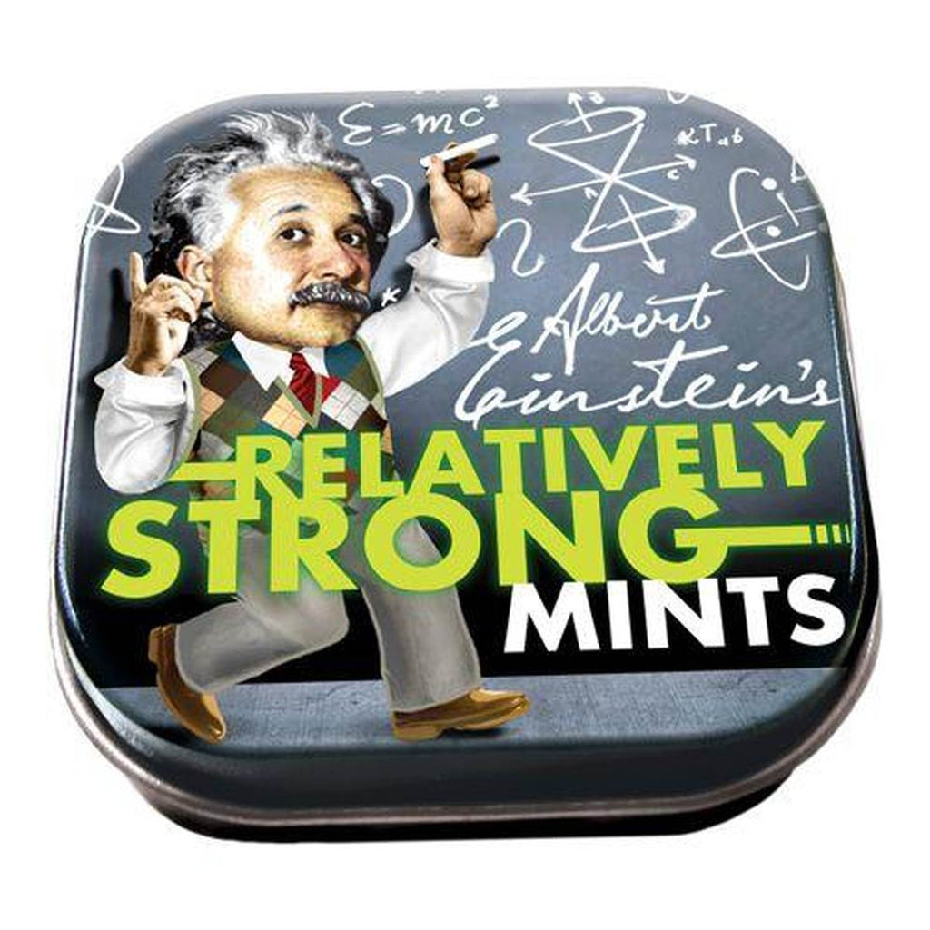 A small tin of mints printed with an image of Albert Einstein in front of a blackboard