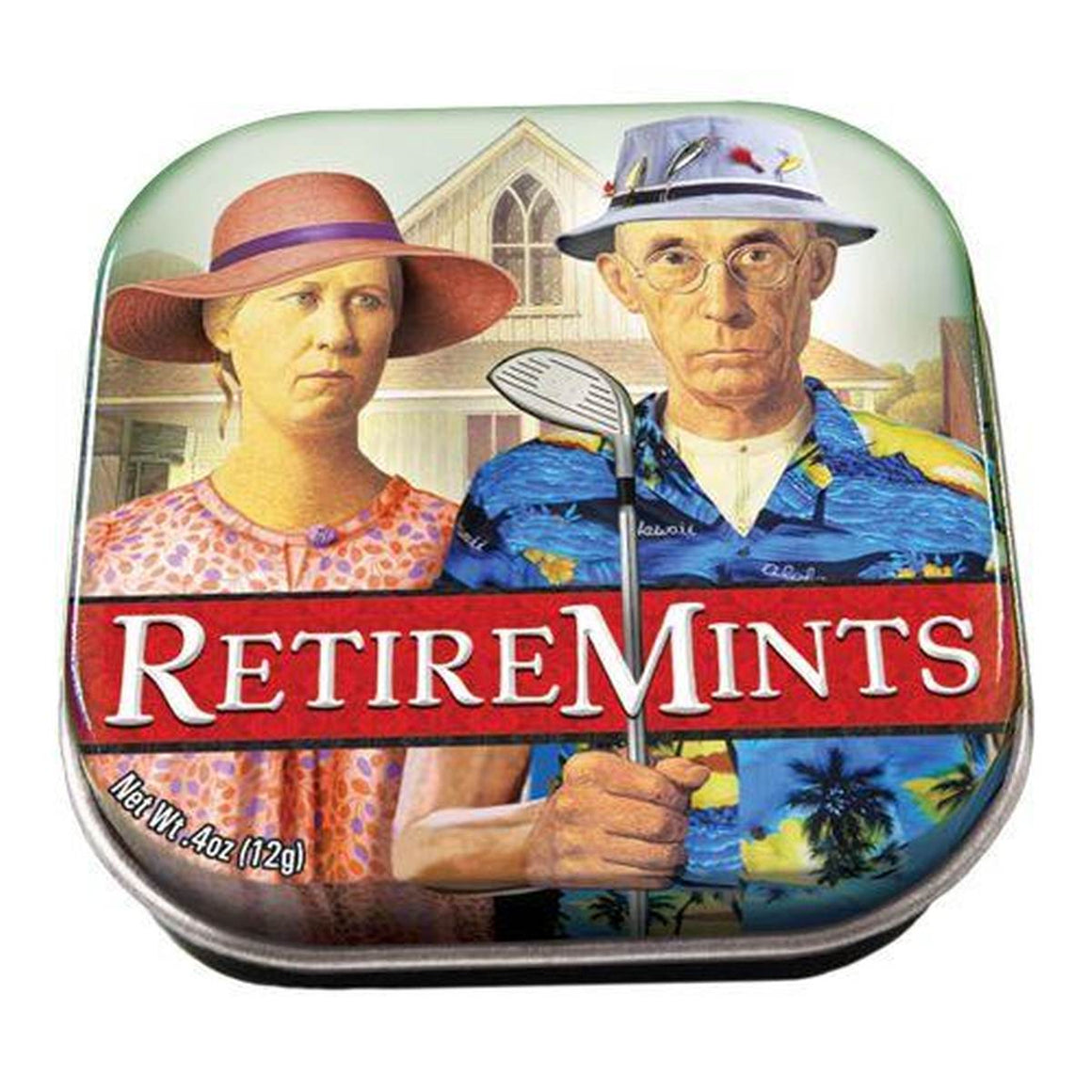 A small tin of mints printed with an altered version of Grant Woods artwork American Gothic