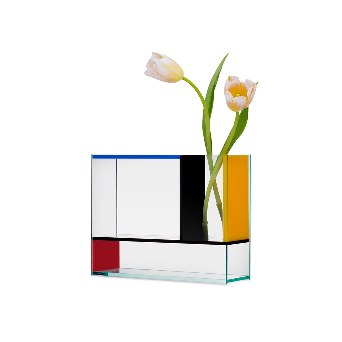 An Acrylic vase inspired by the works of the de Stijl art movement and the block colours of Mondrian. The Vase contains three different chambers and is made of acrylic sheets in clear, blue, red, yellow and black