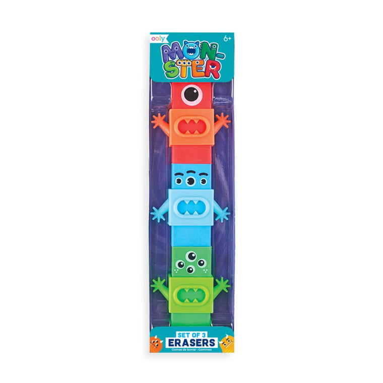 A set of three colourful erasers in the shape of monsters