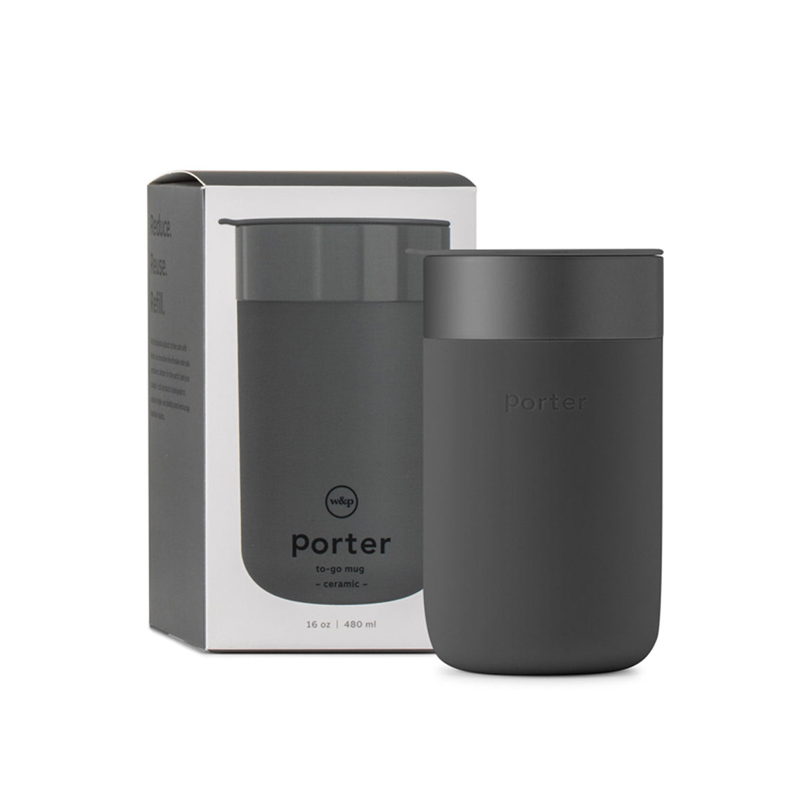 "A charcoal black travel mug composed of Ceramic and Silicone. Shown in front of its box which features the text "" Port to-go mug"" and "" Reduce, Reuse, Refill""."
