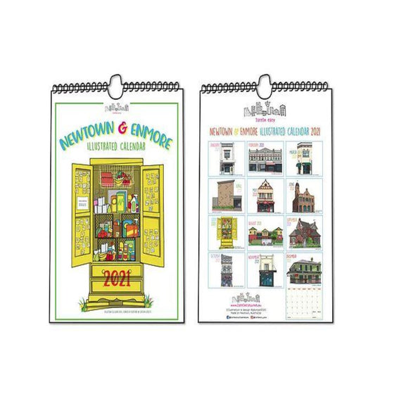 Graphic of a 2021 Calendar featuring various illustrations of iconic landmarks around Newtown and Enmore