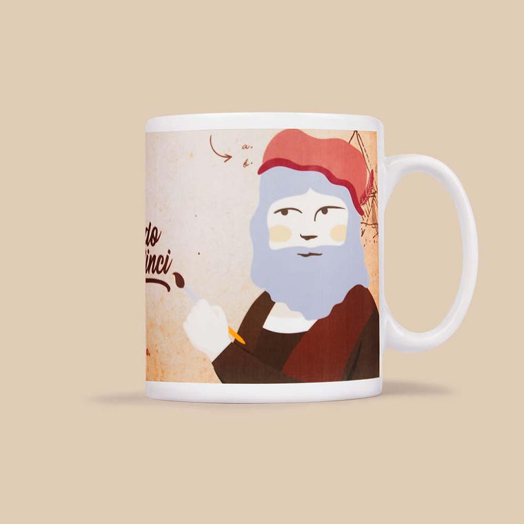Ceramic mug featuring a graphic illustration of Leonardo Tea Vinci