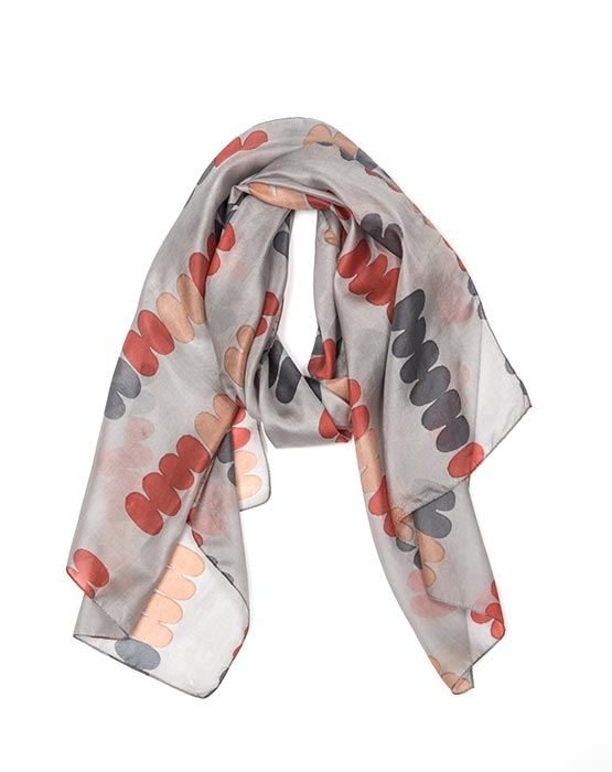 Scarf - Pebble Cherry/Grey/Nude