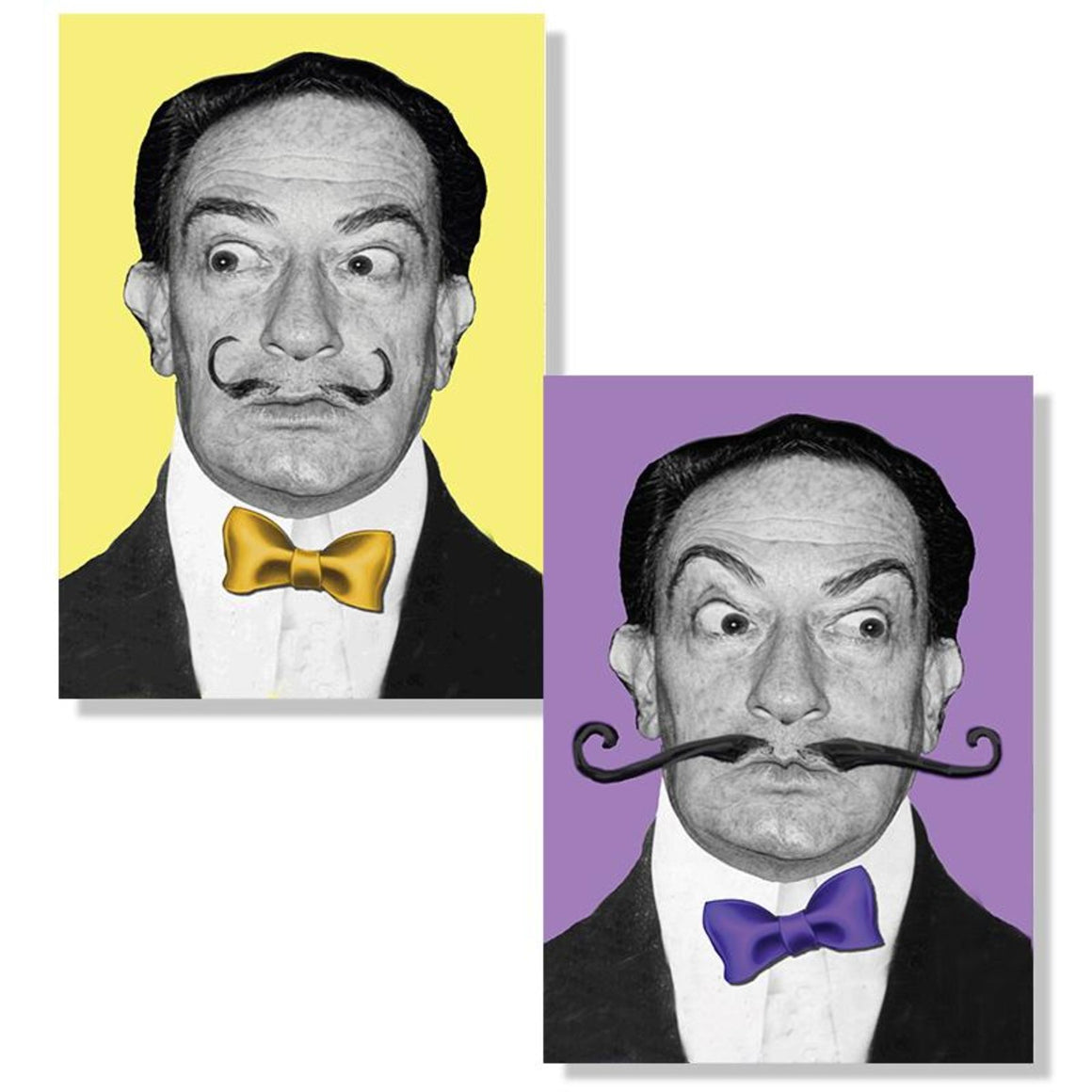 A depiction of the two images of Salvador Dali produced by an animated lenticular postcard. In the first he looks to the right, in the second his eyes shift to the left and his moustache grows.