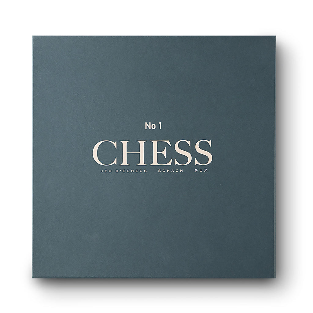 Image featuring a white background with a simplistic green packaging box with the words No.1 Chess on the front