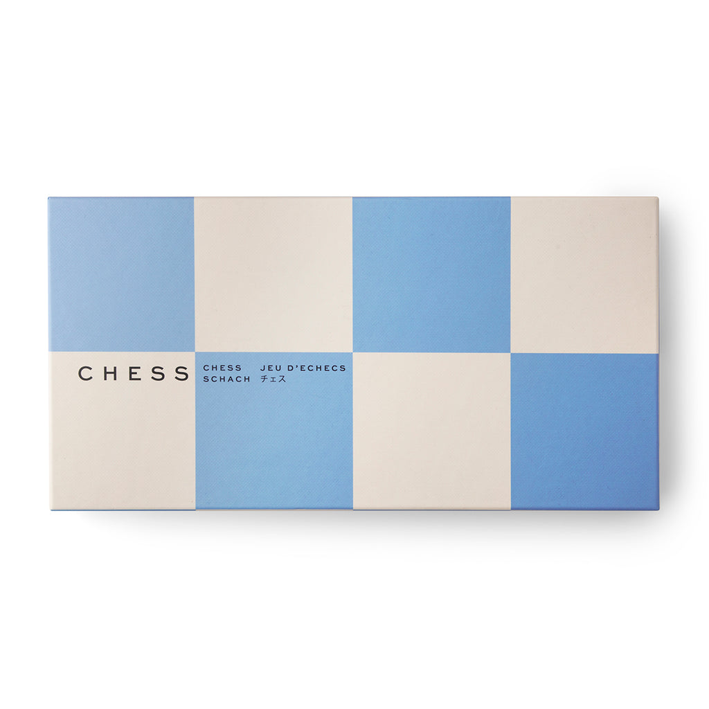 Image featuring a board game with a blue and grey checker with the words Chess on the front