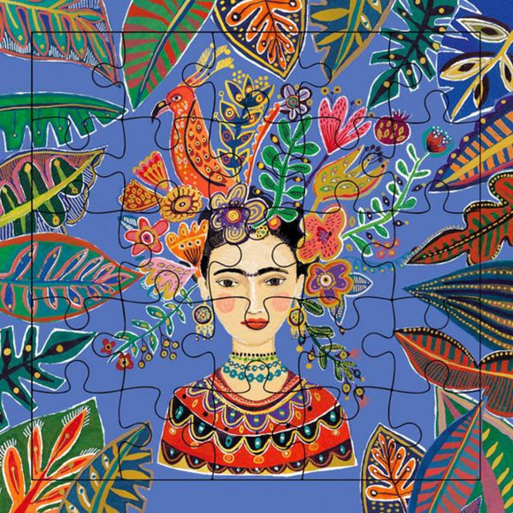 A 20 piece Puzzle featuring a bright portrait of Frida Kahlo surrounded by bright plants and leaves.