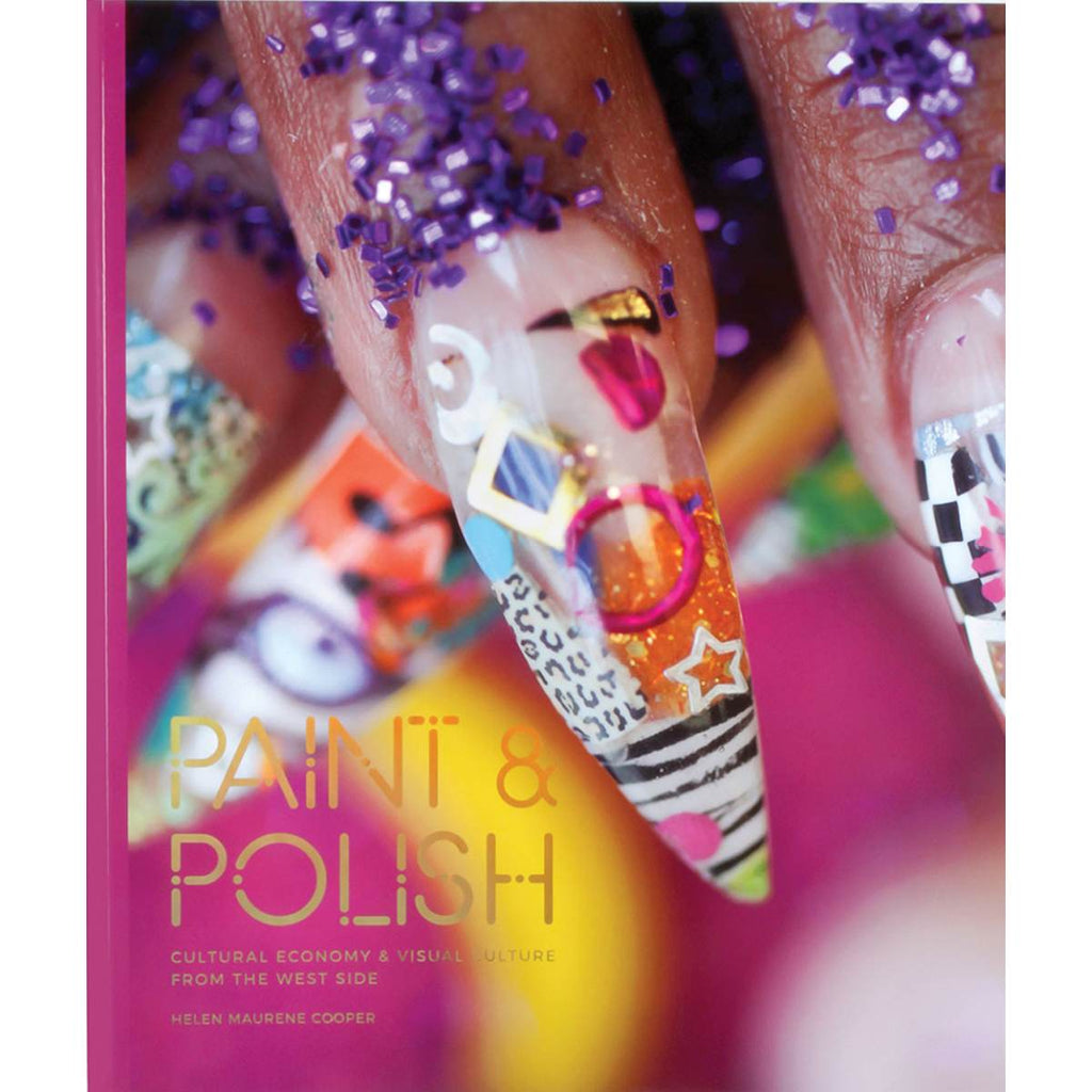 A brightly colour book cover featuring a close up photo of highly decorated fingers and artificial nails. Clashing prints, glitter, sequins, adorn pointed nails on a bright pink background.