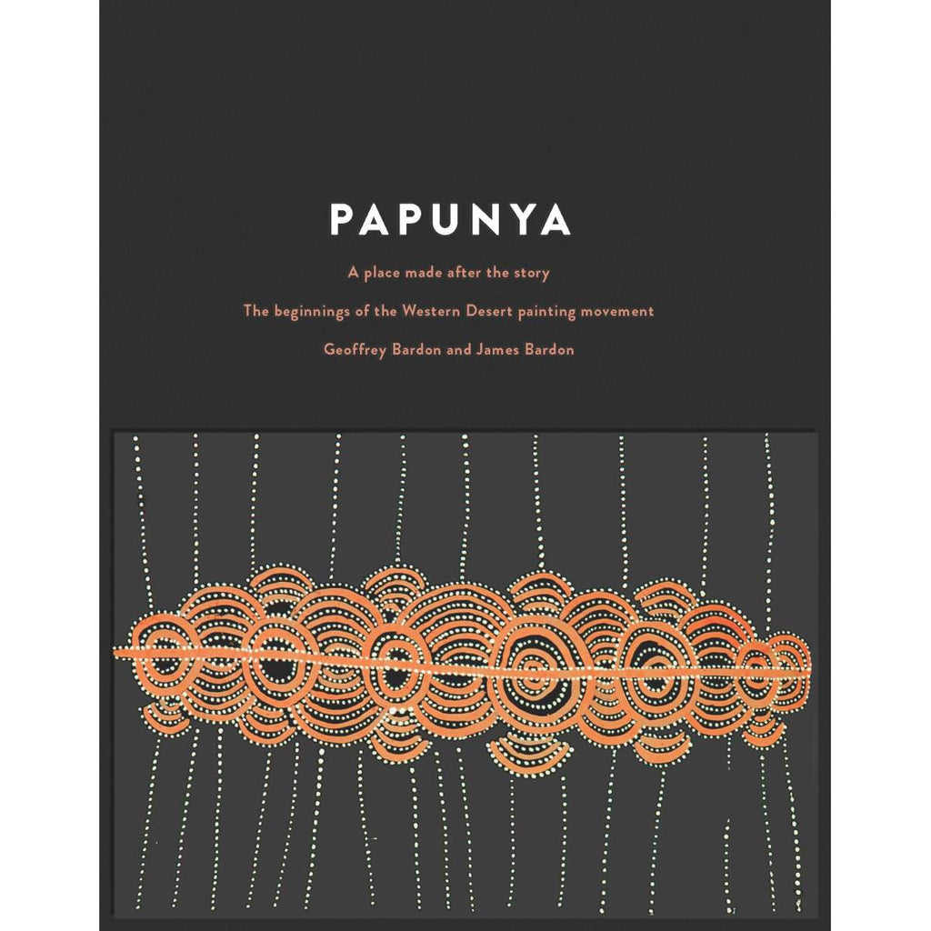 "The book cover for "" Papunya: A Place made after the Story"" Featuring artwork by Mick Tjapaltjarri"". Tan concentric circles and white dotwork on black."