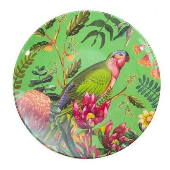 Enamel plate featuring an australian floral pattern with a princess parrot