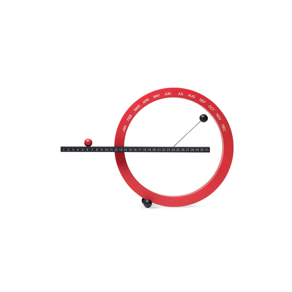 A 'Perpetual Calendar' in red and black. A Red Circle is marked with the months. A Black Rod bisects the circle and is marked with numbers (for each day of the month). Magnetic balls in red and black indicate the date and month.
