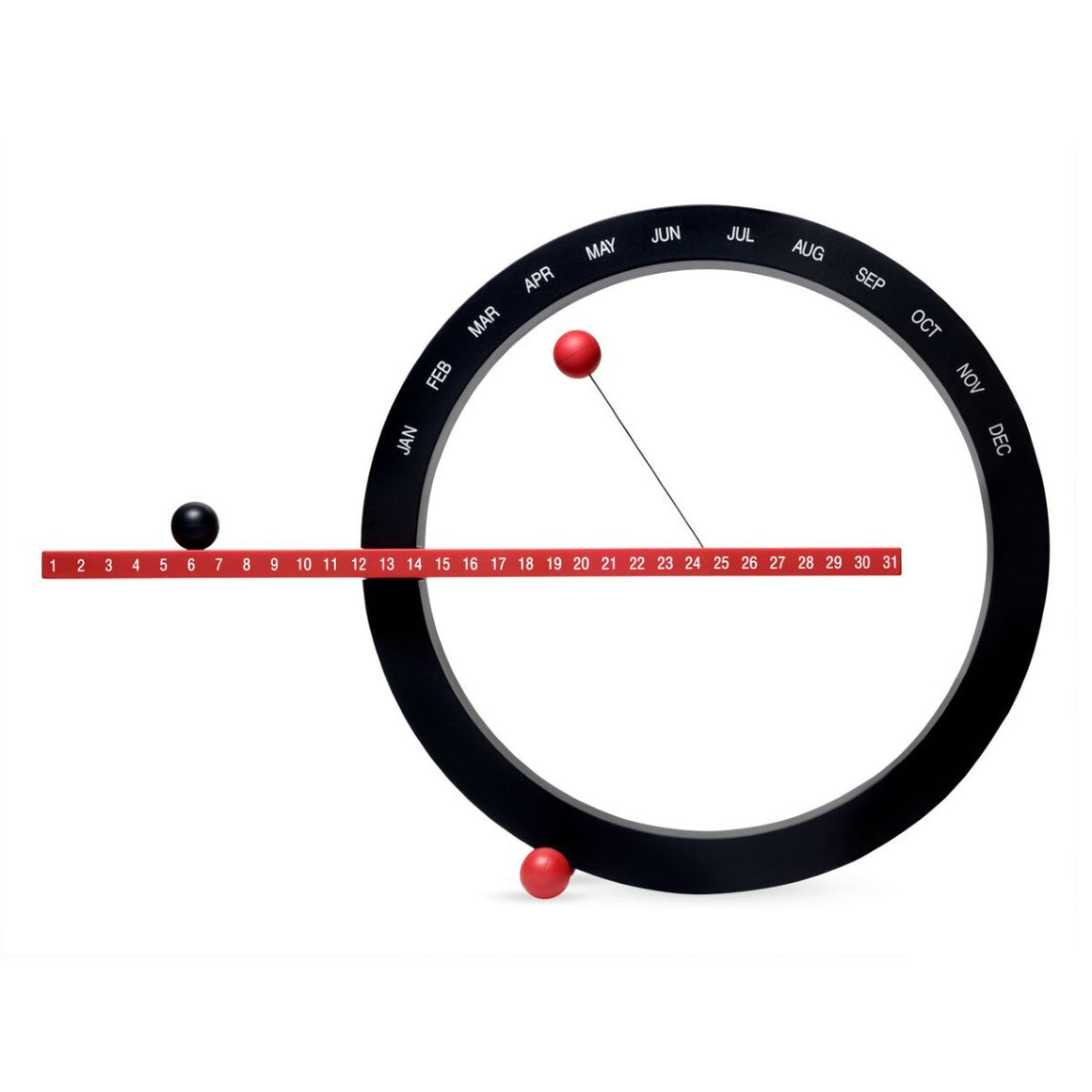A 'Perpetual Calendar' in red and black. A Black Circle is marked with the months. A Red Rod bisects the circle and is marked with numbers (for each day of the month). Magnetic balls in red and black indicate the date and month.