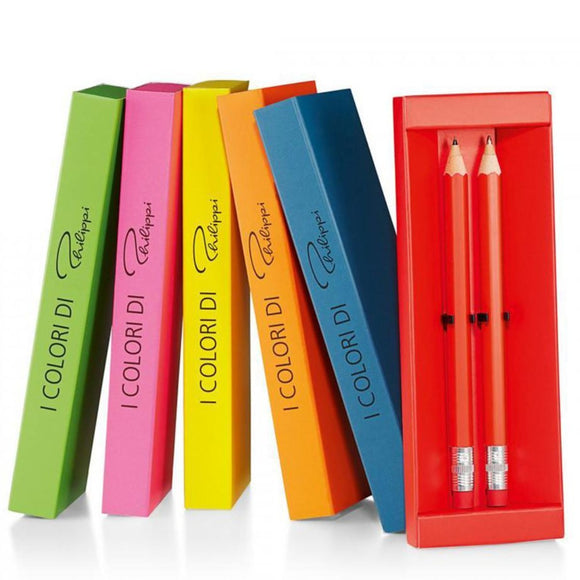 Six packets of pen and pencil sets including the colours red, blue, orange, yellow, pink and green
