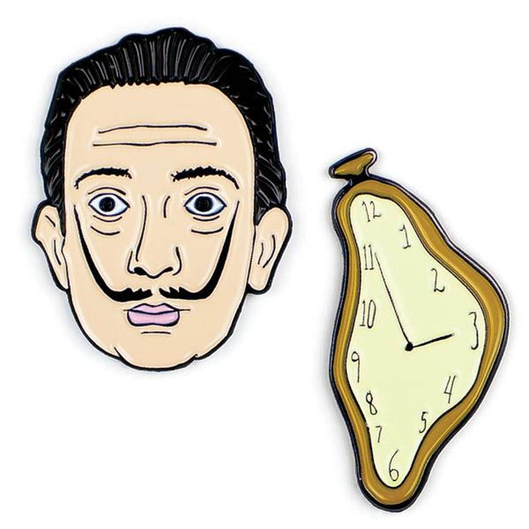A set of two Enamel pins. One is a portrait of Salvador Dali, the other a melting clock.